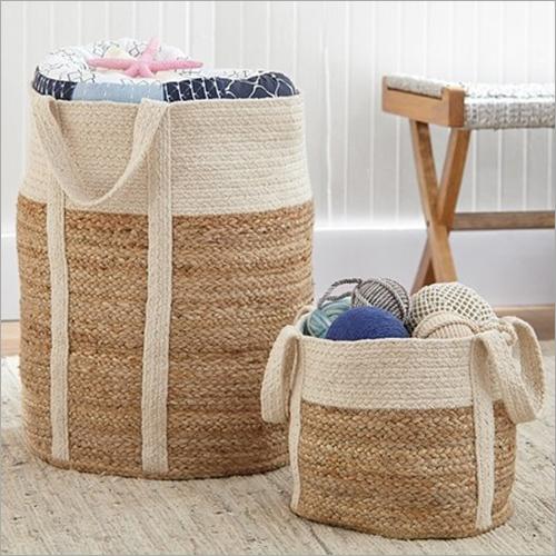 Black & Natural Jute Basket