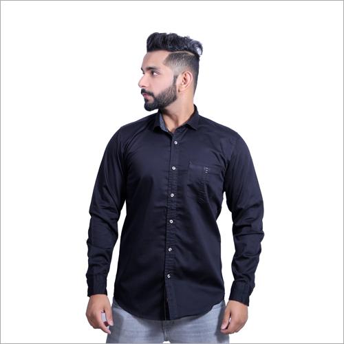 Mens Cotton Satin Plain Casual Shirts
