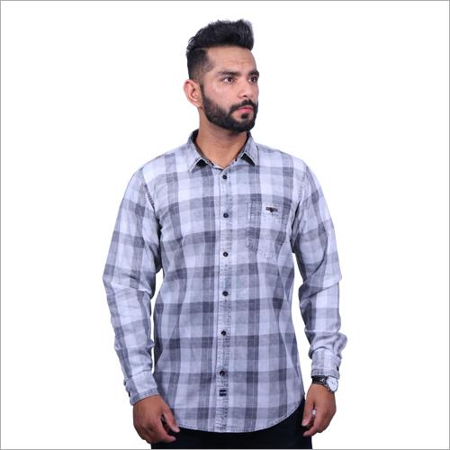 Mens Denim Checks Casual Shirts