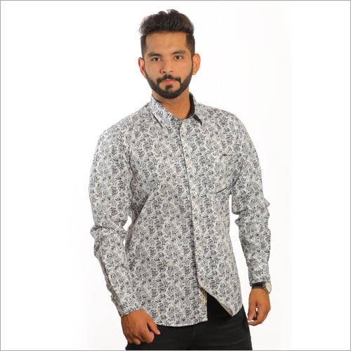Mens Cotton Satin Printed Casual Shirts
