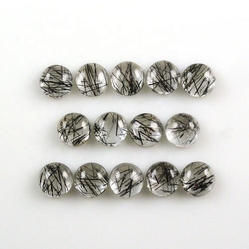 6mm Black Rutilated Quartz Round Cabochon Loose Gemstones