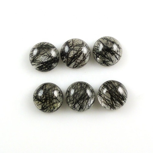 7mm Black Rutilated Quartz Round Cabochon Loose Gemstones