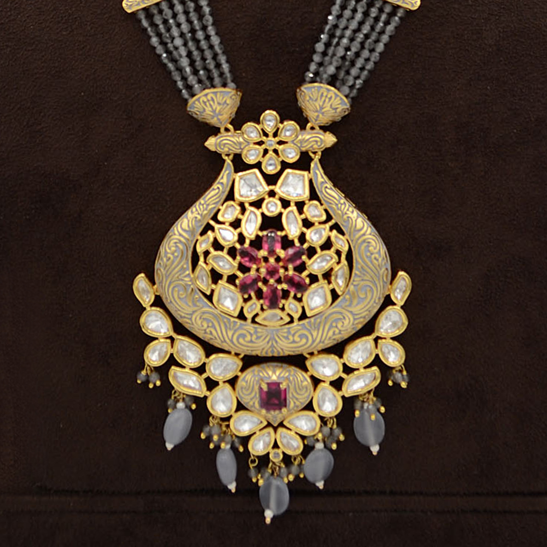 Kundan Pendent Mala Set With Touch Of Ad, Mint Grey Mina And Grey Hangings