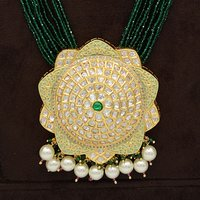 Kundan Pendent Mala Set With Touch Of Ad, Mint Green Mina And Pearl Hangings