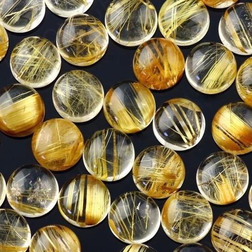 9mm Golden Rutilated Quartz Round Cabochon Loose Gemstones