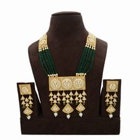 Kundan Pendent Mala Set with Pearl hangingsKundan Pendent Mala Set With Pearl Hangings
