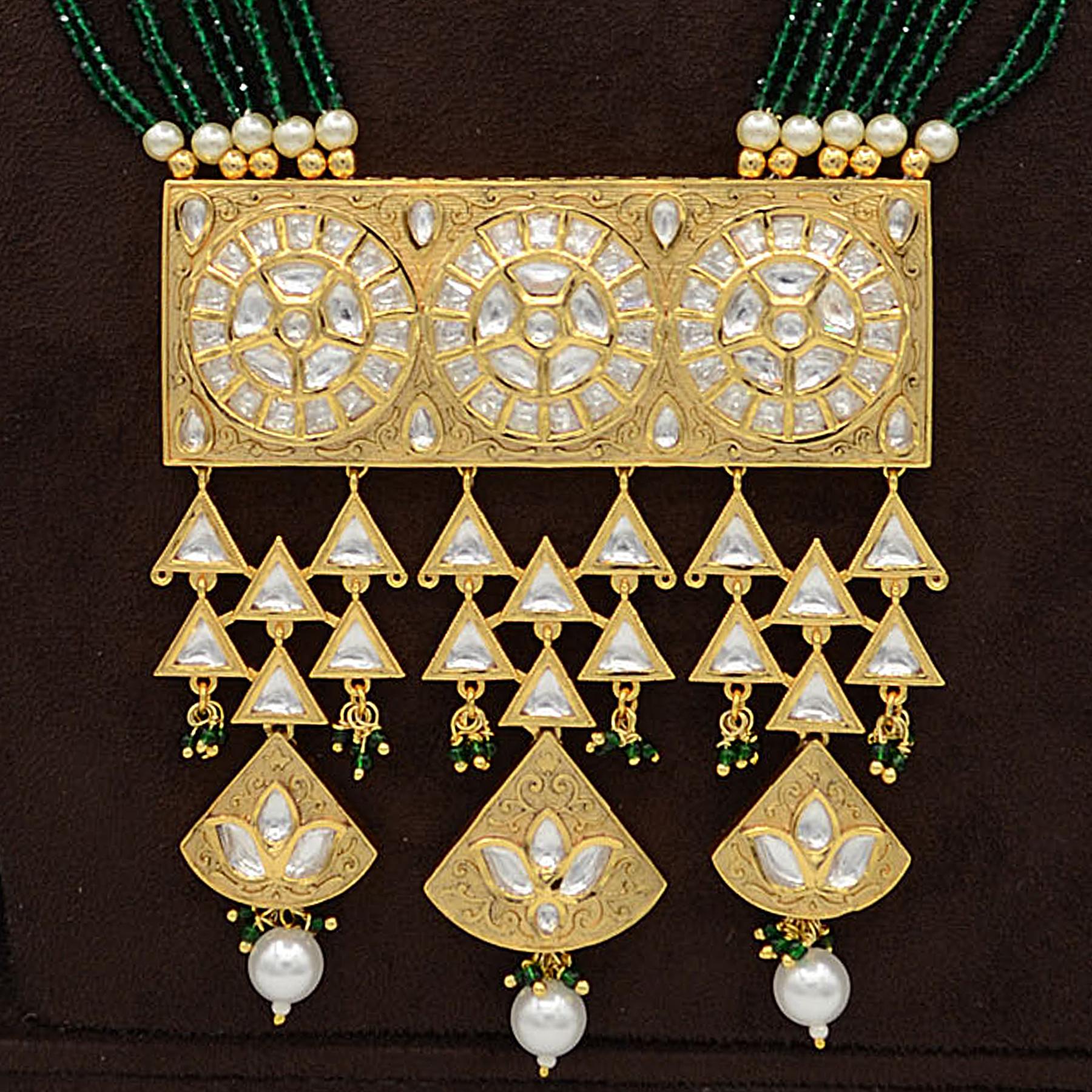 Kundan Pendent Mala Set with Pearl hangingsKundan Pendent Mala Set With Pearl Hangings