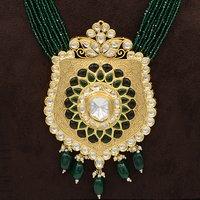 Kundan Pendent Mala Set With Green Hangings