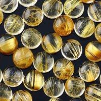 10mm Golden Rutilated Quartz Round Cabochon Loose Gemstones