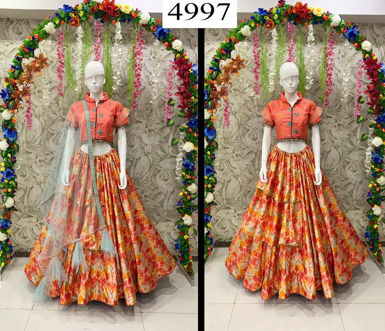 designer lehenga with koti and fancy duppta
