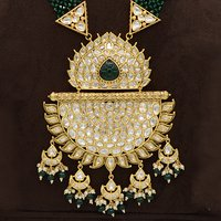 Kundan Pendent Mala Set With Green Carving Stone And Green Hangings