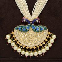 Peacock Kundan Pendent Set With Minakari Work And Pearl Hangings.