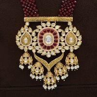 Kundan Pendent Set With Ruby Mala Work