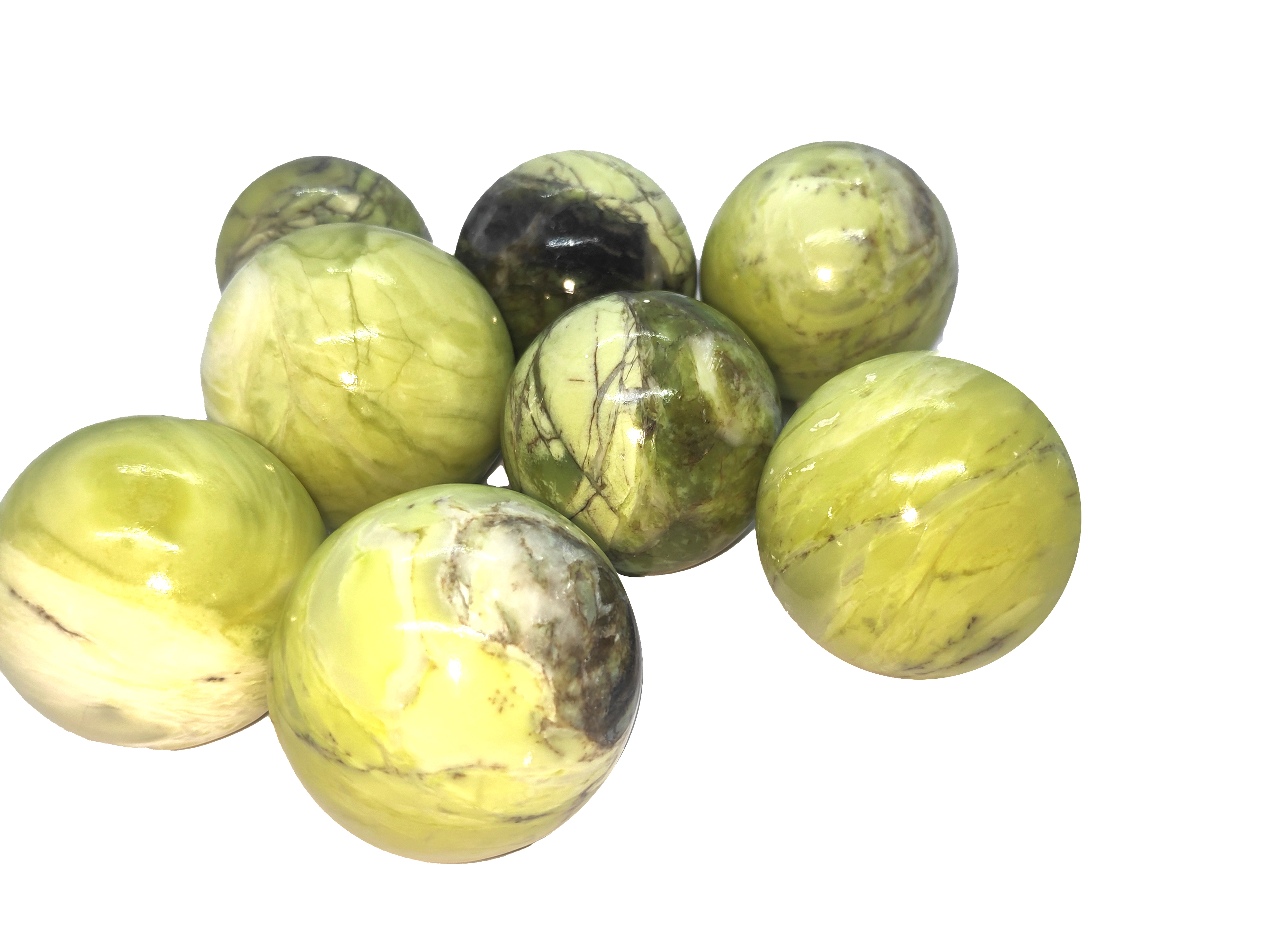 Green Serpentaine spheres Gemstones