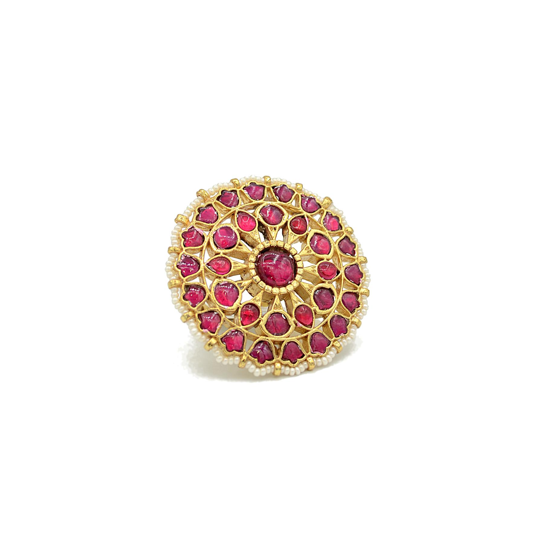 Jadau Finger Ring with Ruby colour stonesJadau Finger Ring With Ruby Colour Stones