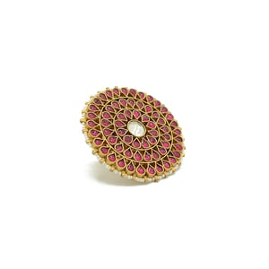 Jadau Finger Ring With Ruby Colour Stones And Center Kundan