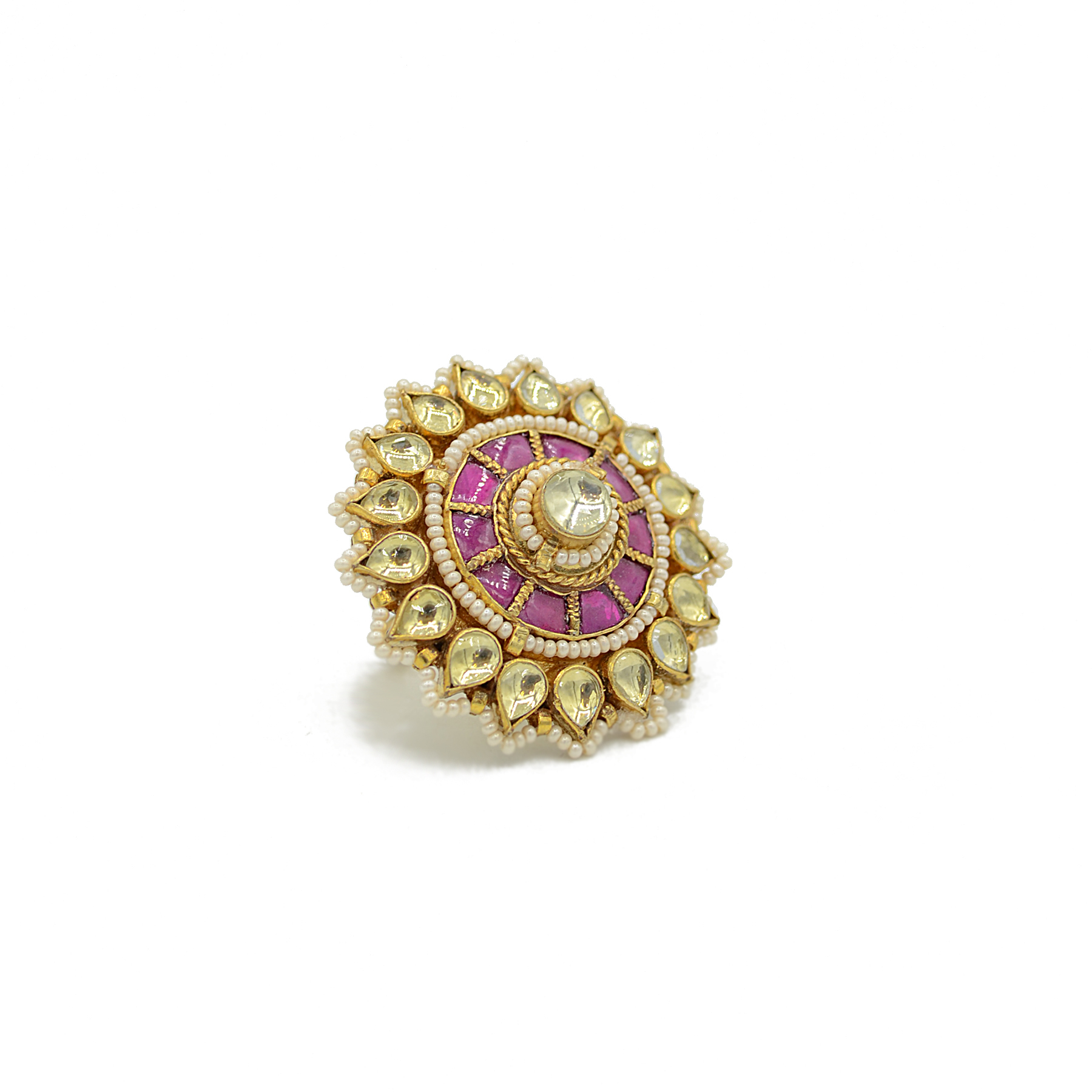 Jadau Kundan Finger Ring With Ruby Colour Stone Work