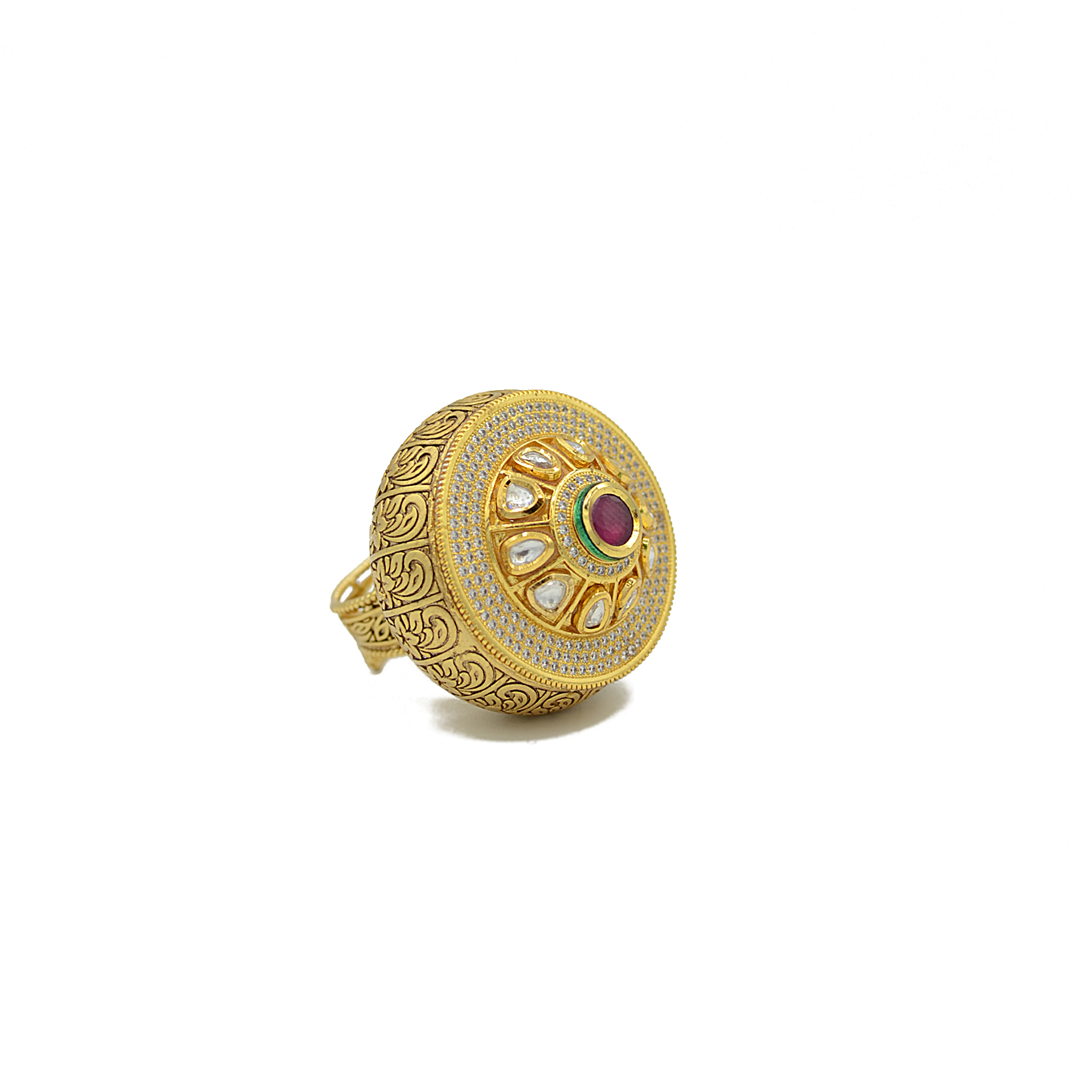 Kundan Finger Ring With Center Ruby Colour Stone And American Diamond Work