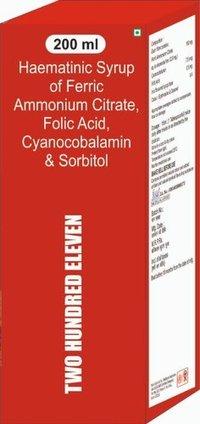 Haematinic Syrup Of Ferric Ammonium Citrate Folic Acid Cyanocobalamin & Sorbitol