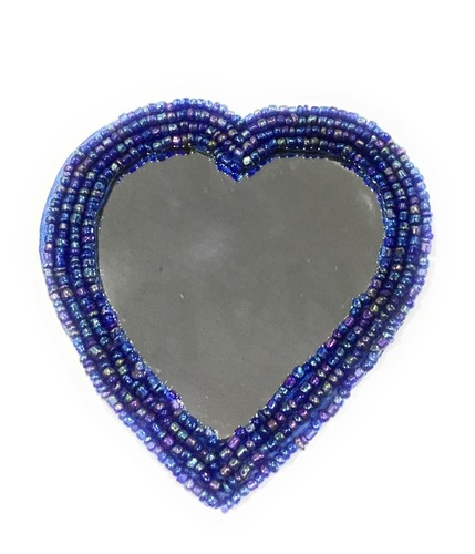 Glass & Glass Beads Heart Mirror