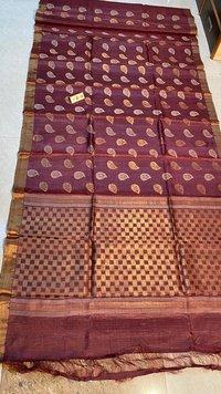 Pure Tussar Silk Hand Made Worli Figure Woven Leafs Boota , Beautifill Pallu