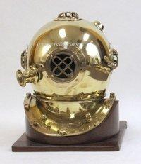 Brass Diving Helmet Mark V with Wooden Base