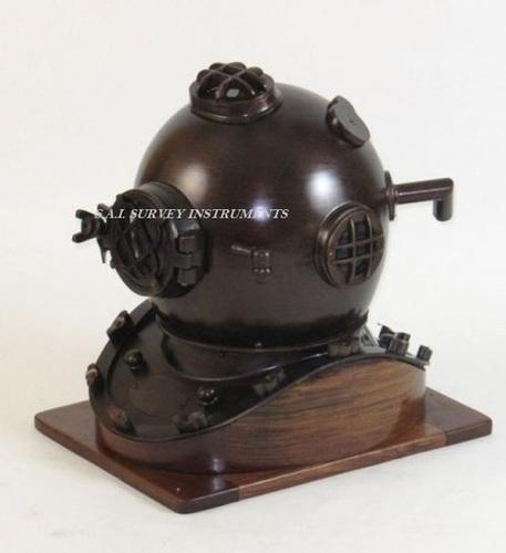 Nautical Antique Mark V Diving Helmet with Wooden Base