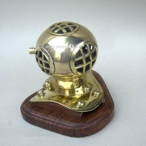 Brass Nautical Decor Diving Helmet with Wooden Base
