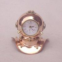 Copper Diver Helmet Clock 8 Inch Brass Art And Collectible Diving Helmet