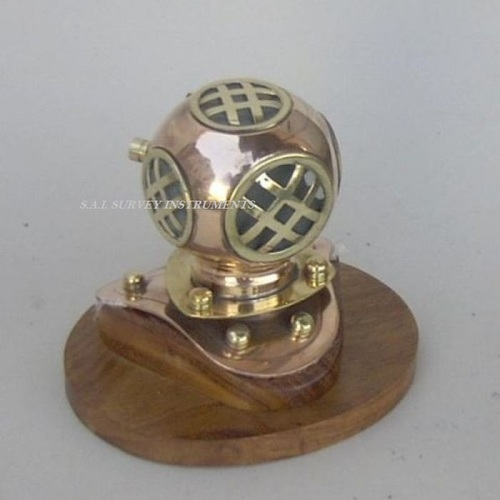 4 inch Copper And Brass Diver Helmet with Wooden Base Collectible Table Decor Gift