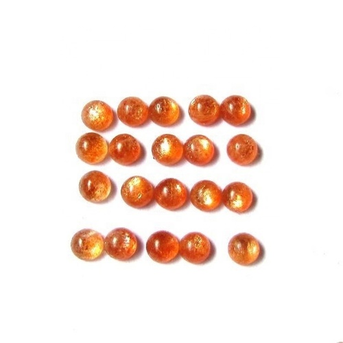 5mm Sunstone Round Cabochon Loose Gemstones
