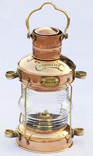 Nautical Anchor Oil Lamp Decorative Hanging Lamp Vintage Style Lantern Brass & Copper Lantern