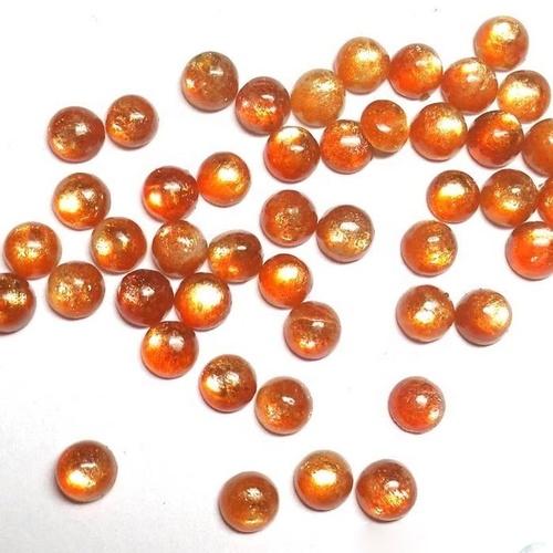 6mm Sunstone Round Cabochon Loose Gemstones