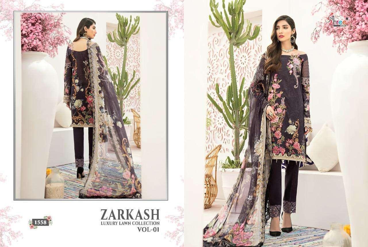 Shree Fabs Zarkash Luxury Lawn Vol 1 Cotton Pakistani dress Material Catalog