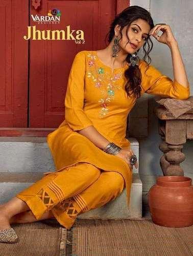 Vardan Designer Jhumka Vol 2 Rayon With Embroidery Work Kurti Catalog