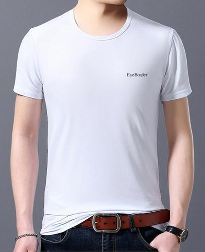 Men Round Neck Half Sleeve White T Shirt