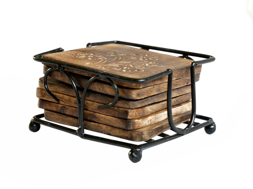 Wooden & Iron Tea Coaster