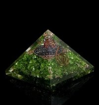 Green Dyed Quartz Chips Orgone Pyramid
