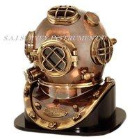 Antique Diving Helmet Mark V with Wooden Base Collectible Marine Divers Helmet