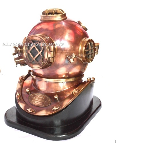 Vintage Look Antique Copper and Brass Diving Helmet Mark V with Wooden Base Collectible Nautical Marine Decor Gift