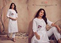 Meetu Jents Kalakand Cotton Staff With Embroidery Work Kurtis