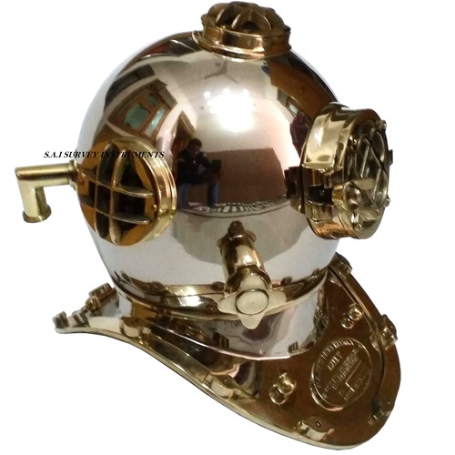 US Navy Chrome Diving Helmet with Brass Fitting Nautical Decorative Dives Helmet Mark V
