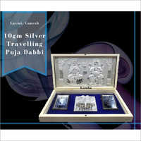 Laxmi Ganesh 10gm Silver Travelling Puja Dabbi