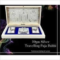 Padmavati Balaji & Laxmi 10gm Silver Travelling Puja Dabbi