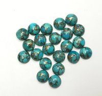 9mm Blue Copper Turquoise Round Cabochon Loose Gemstones