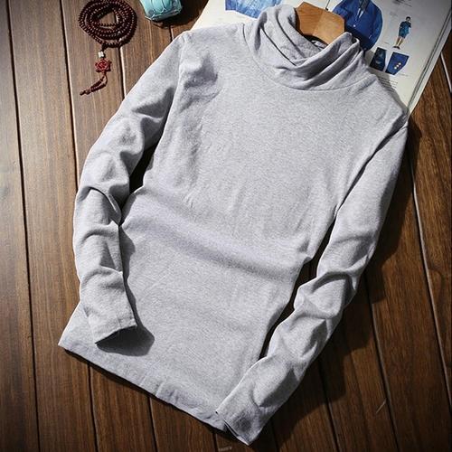 Men High Neck Solid  Grey T-shirt