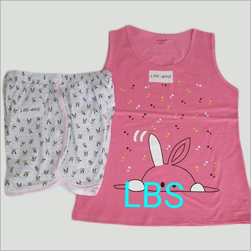 Ladies Cotton Sleeveless Pyjama Set