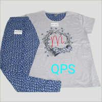 Ladies Cotton Round Neck Pyjama Set