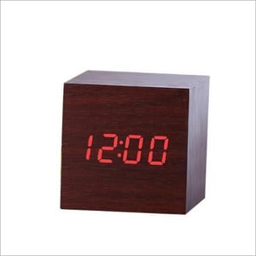 Cube Shaped Wooden LED Clock