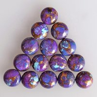 6mm Purple Copper Turquoise Round Cabochon Loose Gemstones